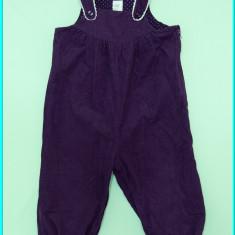DE FIRMA → Pantaloni tip salopeta, catifea subtire H&M → fetite | 9—12 luni | 80, Marime: Alta, Culoare: Mov, Fete