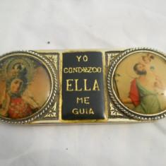 Veche icoana Spania cu Sfantul Cristopher si Fecioara Maria patina frumoasa - Icoana din metal