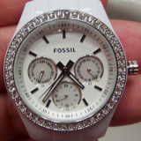 Ceas Fossil Stella Alb Dama - Ceas dama Fossil, Fashion, Quartz, Inox, Plastic, Ziua si data