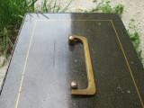 Caseta veche pentru valori, cutie veche metal cu cheie pentru pastrat bijuterii , bani ; maner alama