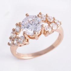 Inel superb dublu placat aur 18K cristale zirconiu, marime 7(US) -cod 633 - Inel placate cu aur, 46 - 56