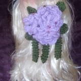 Clama pentru par dimensiuni mari, flori crosetate, agrafa  par, accesoriu par