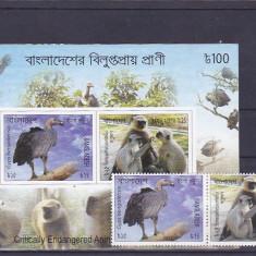 Fauna, pasari, maimute, Banglades. - Timbre straine, Asia