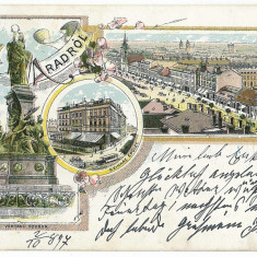 1290 - Litho, ARAD - old postcard - used - 1897 - Carte Postala Banat pana la 1904, Circulata, Printata