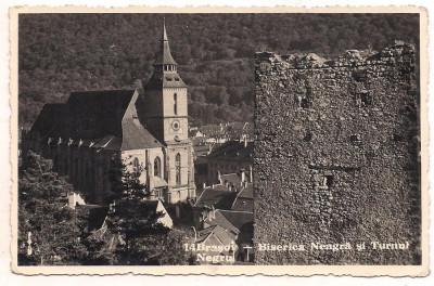 carte postala(foto)-BRASOV-Biserica Neagra si Turnul Negru-anul 941 foto