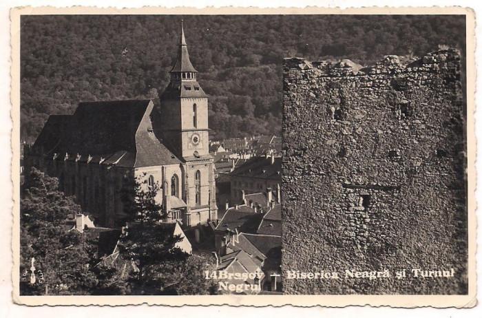 carte postala(foto)-BRASOV-Biserica Neagra si Turnul Negru-anul 941