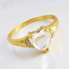 Inel dublu placat aur 18K Opal si cristale zirconiu, marime 6, 7, 8, 9(US) -cod 688 - Inel placate cu aur, 46 - 56