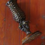 Vaza deosebita din lemn cu 3 capete de Zimbru / artizanat perioada comunista !!! - Sculptura