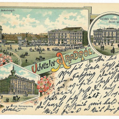 1301 - Litho, ARAD - old postcard - used - 1898 - Carte Postala Banat pana la 1904, Circulata, Printata