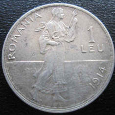 (1101) ROMANIA 1 LEU 1914 REGELE CAROL I - MONEDA DIN ARGINT - ULTIMUL AN DE BATERE - Moneda Romania