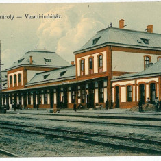 2620 - Satu Mare, CAREII MARI, Railway Station - old postcard - unused