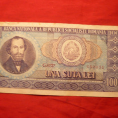 Bancnota 100 Lei 1966, cal.Buna - Bancnota romaneasca