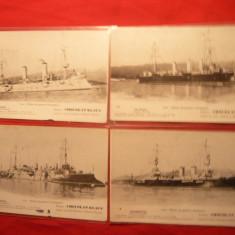 4 Ilustrate -Nave- Marina de Razboi Franceza - Primul Razboi Mondial - Carte postala tematica