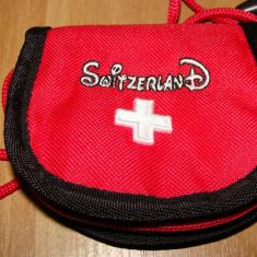MINI ETUI / PORTOFEL mini borseta - SWITZERLAND - Portofel Dama, Rosu, Pentru monezi