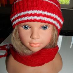 Caciulita caciula tricotata pentru copii, unisex, cu fular atasat - Caciula Copii, Culoare: Rosu, Rosu