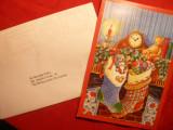 Felicitare de la Pres.Fed. Spaniole Gimnastica ,cu autograf ,carte vizita ,catre Nicolae Vieru 2002