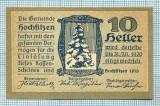 1950 BANCNOTA NOTGELD - AUSTRIA - 10 HELLER - anul 1920 -SERIA FARA -EROARE DE TIPAR-starea care se vede
