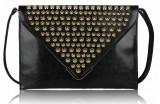 Geanta neagra Golden Studs / Plic dama negru cu tinte - Import Anglia, Geanta plic, Asemanator piele