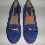 Superbi pantofi dama noi piele intoarsa albastru foarte comozi Sz 37 ! - Pantof dama