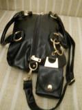 geanta dama neagra model deosebit cu portofel atasat