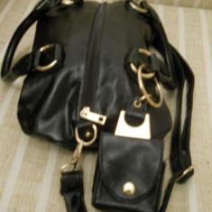 Geanta dama neagra model deosebit cu portofel atasat, Culoare: Negru, Marime: Medie, Geanta de umar, Asemanator piele