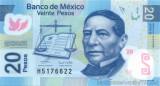 MEXICO █ bancnota █ 20 Pesos █ 2006 █ P-122a █ SERIE B █ POLYMER UNC necirculata