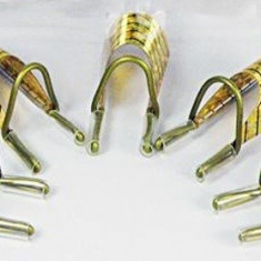 Sabloane refolosibile din teflon, aurii, pentru unghii false cu gel/acril 5 buc - Ustensile
