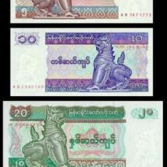 MYANMAR BURMA █ SET 50 Ps +1+5+10+20+50+100 Kyats █ 1994 P-68-74 UNC necirculata