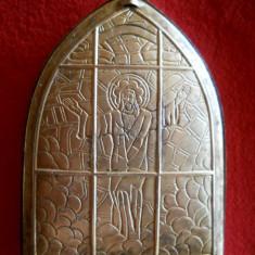 Veche Port Icoana de buzunar si Mot botez executata si gravata manual Rara - Icoana din metal