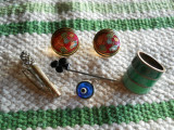 Frumos Lot Bijuterii Vintage cu email si pietre Inel Cercei Medalion Ac Brosa