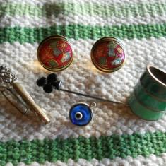 Frumos Lot Bijuterii Vintage cu email si pietre Inel Cercei Medalion Ac Brosa - Bijuterie veche