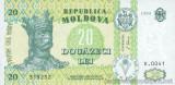 MOLDOVA █ bancnota █ 20 Lei █ 1999 █ P-13d █ UNC █ necirculata