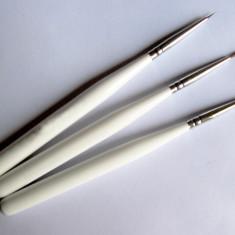 Set de 3 pensule pentru pictura pe unghii, pensule pentru tempera