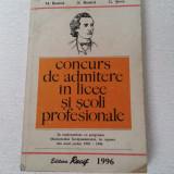 CONCURS DE ADMITERE IN LICEE SI SCOLI PROFESIONALE