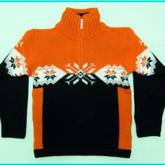 Pulover lana, model norvegian, fermoar F.LLI CAMPAGNOLO _ baieti | 5-6 ani | 116, Marime: Alta, Culoare: Orange