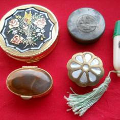 Lot vechi Cutii vintage diverse utilizari cu emali sidef scena in relief piatra - Cutie Bijuterii