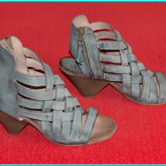 DE FIRMA → Sandale dama, din piele, elegante, moderne, MJUS → femei | nr. 40, Culoare: Gri, Piele naturala