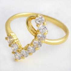 Inel filat aur galben 9k gold filled marime 7 model inima piatra zirconiu - Inel placate cu aur Swarovski