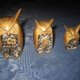 Statuiete pereche- Set 3 Bufnite alama. - Metal/Fonta