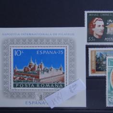 M639 expozitia filatelica Spania-Mihai Eminescu Michelangelo Buonarroti-1975 - Timbre Romania, Nestampilat