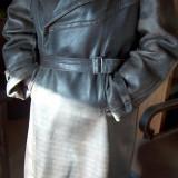Mantou bărbătesc vintage, din piele de viţel - Geaca barbati, Marime: XL, Culoare: Maro