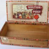 Cutie veche din lemn pentru tigari KULTUR POST SUMATRA - de colectie