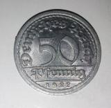 50 Pfennig - Germania 1922, aluminiu