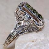 Inel Victorian Style (Ag 925): Peridot Trilogy!!! - Inel argint