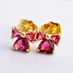 CERCEI placati aur filat 14k galben gold filled piatra roz rubin model funda - Set bijuterii placate cu aur