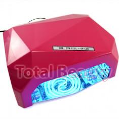 Lampa UV CCFL + LED cu Timer, 18W, Diamond Pink - Roz - Livrare Gratuita - Lampa uv unghii