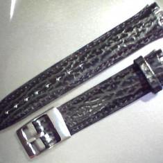 Curea swatch piele neagra si maro, de 17mm, latime. - Curea ceas piele