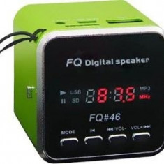 Mini difuzor portabil Cu Mp3 player si radio Fm - Slot card si USB -Model FQ-46 - Boxa portabila