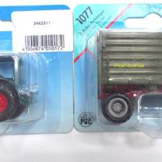 SIKU-SCARA 1/58-TRACTOR HANOMAG +REMORCA AGRICOLA - ++2501 LICITATII !! - Macheta auto