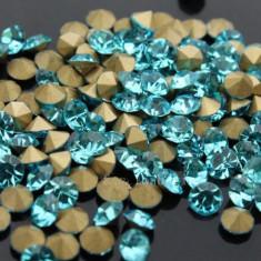 Diamante din crystale de sticla la 100 bucati, cristale Blue Saphire 3D de 2, 2mm - Model unghii